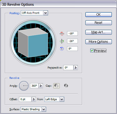 3D Revolve Options window will appear