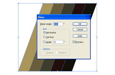 you can group the rectangle by selecting the group using Object > Transform > Shear