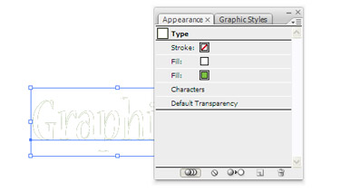 Fill in the Appearance panel and change it's colour