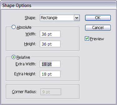 Select Shape Options, select shape and then select Relative and click on OK
