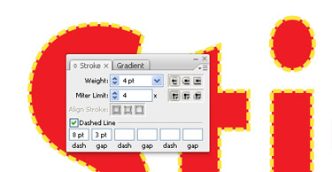 Now go to the appearance palette and select the stroke weight and miler limit