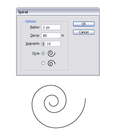 Select Spiral and enter Radius, Decay, Segments and Style and click on OK