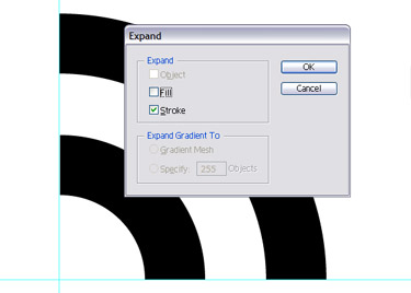 Expand and click on Stroke checkbox to convert the strokes into complete shapes.