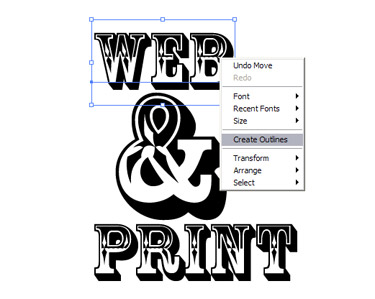 To make the text more editable for reshaping select each word and the ampersand using the Selection tool