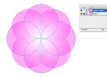 Choose all the circles in the duplicated layer and click on Rotate Tool