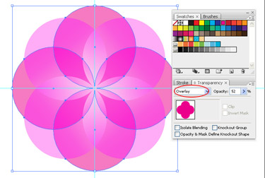 select another colour fill for the circles. Then select Overlay as Transparency mode.