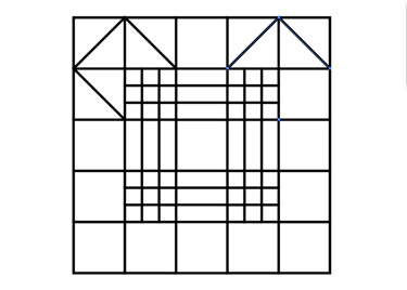 From the Tool bar pick the Pen tool. Click on the corners of the squares in sequence as shown below to create the  triangles.