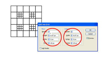 The 2 grid squares displayed in red will be split into 3 rows.