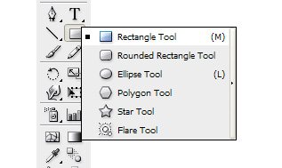 Navigate to the Tool Palette and hold the Rectangle Tool.