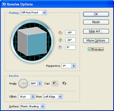 3D Revolve Option window will appear