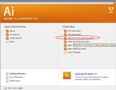 When you open an Illustrator you are given many options to create a document.