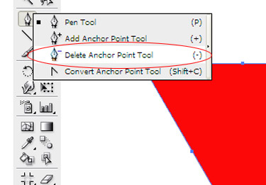 Choose the Subtract Anchor Point tool