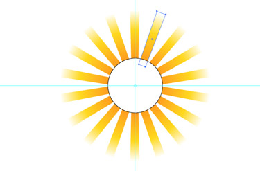 Choose the Rotate tool. Navigate to the View mode and place the anchor point to the centre of the circle.