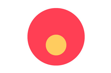Draw a circle path and fill it with orange colour.