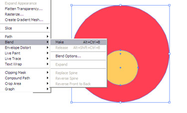 Choose the Blend Tool. click on the top edge of the yellow circle