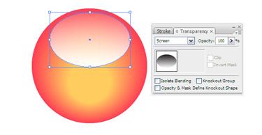 Choose the oval path and then navigate to Transparency palette,