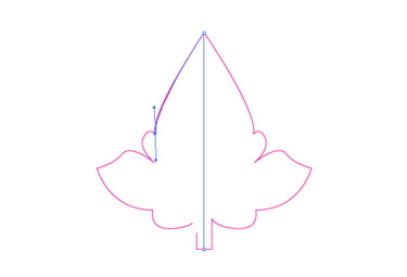 you have to curve the line to follow the shape of the leaf.