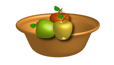 Put the apples and the bowl together