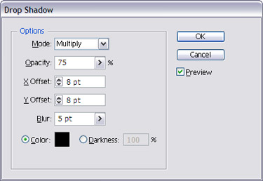Navigate to Effect to Stylize into Drop Shadow and apply the setting
