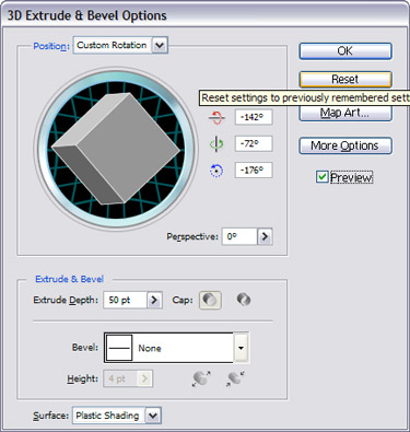 choose Effects to 3D  Extrude & Bevel options.