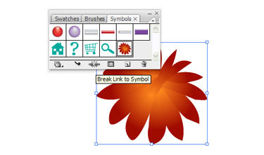 Drag the symbol back to the work area. Using the Break Link attribute edit the flower.