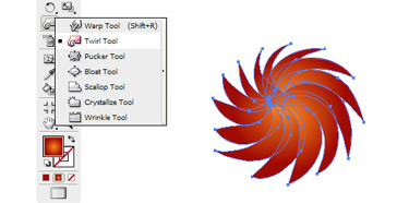Select another flower symbol and break the link. Then use the Twirl tool to achieve this flower.