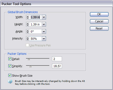 Choose the pucker tool options
