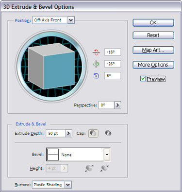 Choose 3D extrude & bevel options.