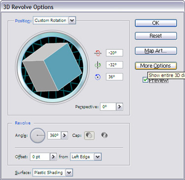 From the 3D Revolve window, choose the following options.