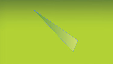 Draw a narrow triangle at an angle. Use the gradient tool with the new gradient and apply it to the rectangle.