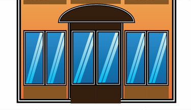 Create the canopy of the doors, draw a horizontal line at the bottom using the Pen tool and then a vertical line.