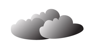 Make the clouds by repeating this process. Colour the clouds with no stroke and fill the gradient of black and white.