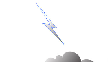 Create the thunder. Choose the Pen tool. Make some straight lines to create the shape of the thunder.