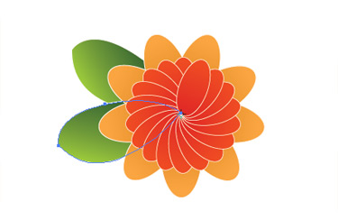 Make a leaf shape and apply a tri-colour gradient to it
