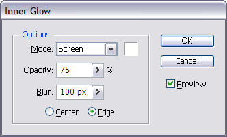 Select Inner Glow option of the following settings.