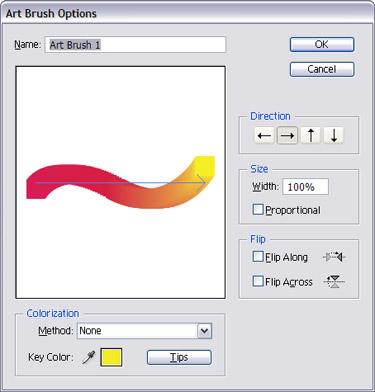 Leave everything in the Art Brush Options box as it is, or  experiment with different colorization settings.