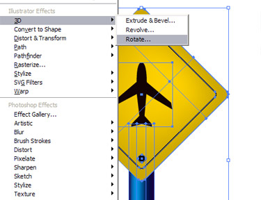 select object and go to Effect 3D Rotate Options