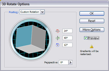 In the Rotate 3D Rotate Options  dialog box, set the Perspective to 75°.