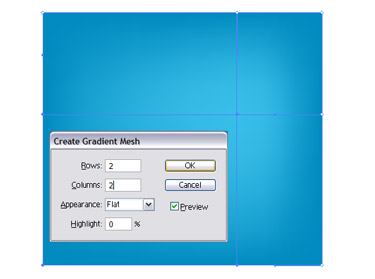 With the Rectangle tool draw a square shape and fill it with a solid blue colour.