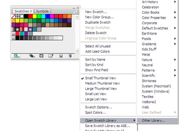 Open the Swatches Palette and click the arrow on the upper right-hand side of the palette. From the fly out menu choose Open Swatch Library to Other Library