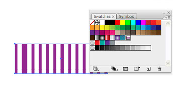 Select the rectangle and click on the pattern in the Swatches Palette to apply a pattern to the rectangle's fill.