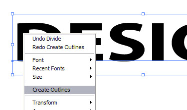 Select 'Create Outlines'.