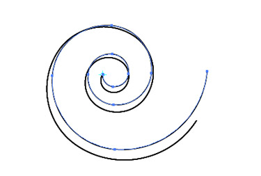 Choose the Selection Tool to get the transform handles. Scale the spiral to add thickness to  the spiral from the centre point out.