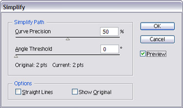 To smoothen a path by reducing the number of anchor points open the Simplify dialogue and adjust according to your needs.