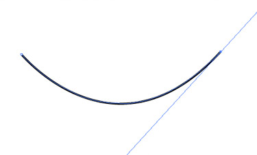 Drag handles from the first anchor point when beginning a curved path.