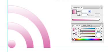 Select the three objects and add a pink-white gradient fill running vertically, and a 1pt light grey stroke.