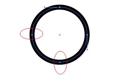 Select only the left and bottom points of the circle using the Direct Selection Tool