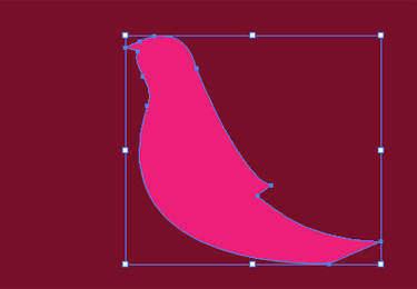 On a coloured background draw the shape of a bird.