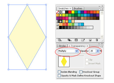To adjust the value of the shape from 100 to 25 go to the Transparency palette.