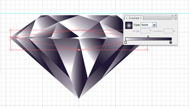 Using the Rectangle Tool, draw a rectangle that meets all the four points of the girdle's edges. Click once at the middle of the top line of the selected rectangle with the Pen Tool.